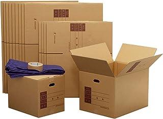 ボックスバンク ダンボール 段ボール 引っ越しセット 2~3人用 ダンボール箱(大10・中5)15枚 布団袋 テープ付 ZH18-0015-a