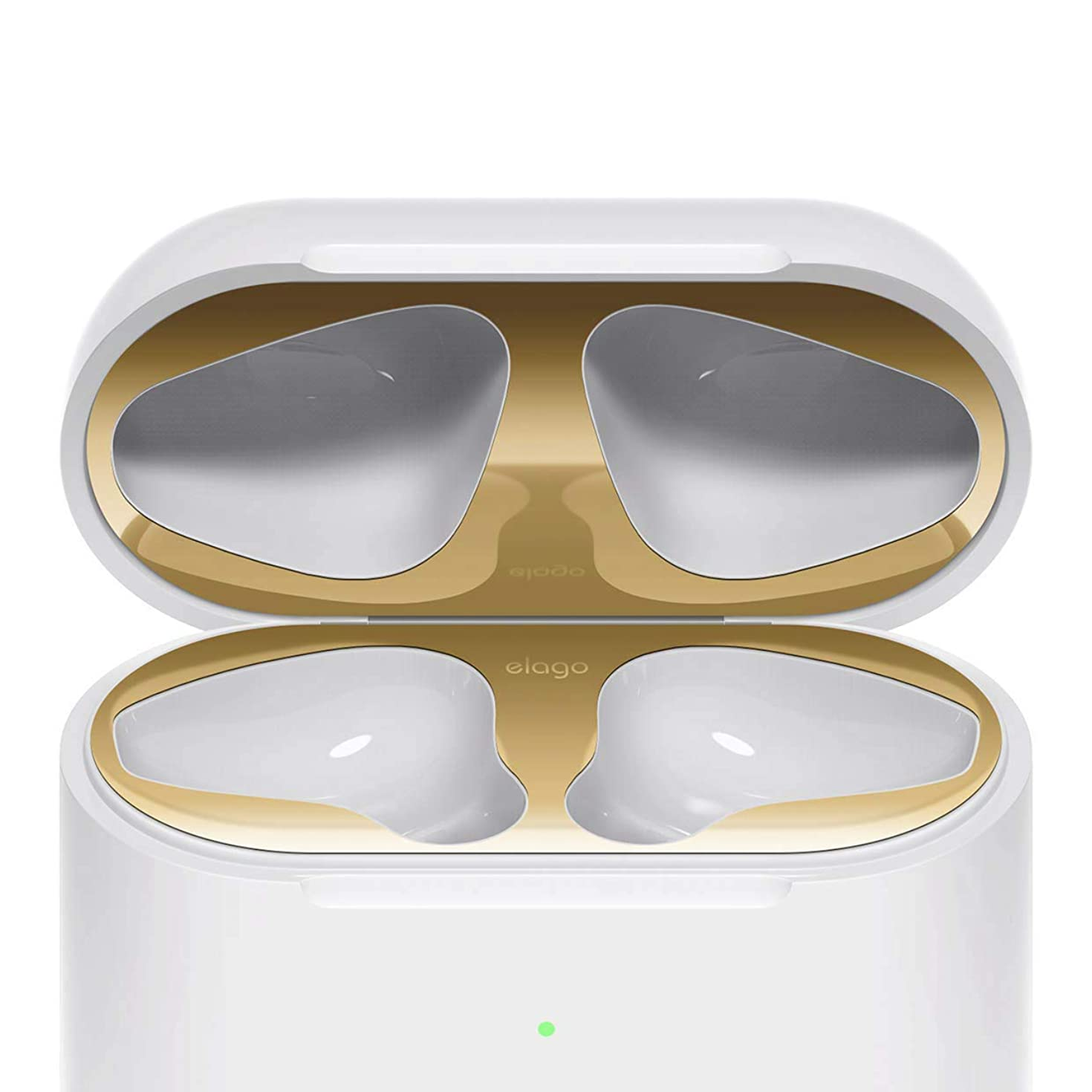 elago Dust Guard for AirPods 2 Wireless Charging Case [Gold][2 Sets] - [18K Gold Plating][Protect AirPods from Iron/Metal Shavings][Watch Installation Video]