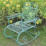 Mecedora de Hierro Forjado al Aire Libre, Banco de Metal para jardín, Tumbona para Exteriores Resistente a la Intemperie, sillón reclinable con Respaldo, Porche Delantero con césped