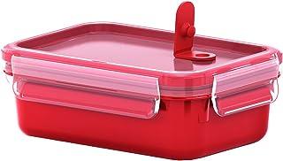 Emsa - Recipiente hermético para Almuerzo, Caja con Compartimentos, con Cierre, para microondas, plástico, Rojo, 0,55 L