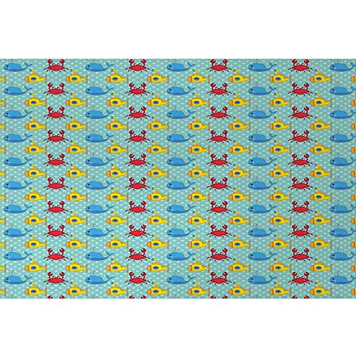 bybyhome Aquarium Background Sticker Yellow Submarine,Underwater Life Theme Pattern Submarines Whales and Crabs Print,Aqua and Mustard Photography Background Undersea Backdrop L36 X H16 Inch