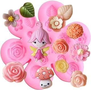 Cake Molds - Fairy Flower Garden Decoration Silicone Molds Baby Birthday Fondant Cake Decorating Tools Rose Mushroom Candy...
