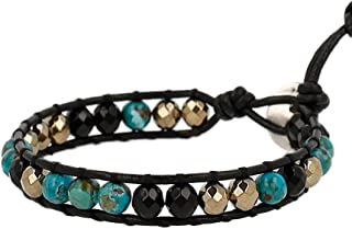 Chan Luu Onyx Semi Precious Stone Beaded Single Wrap Bracelet on Leather