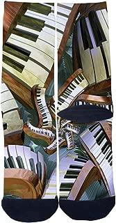 Mens Womens Lost Pianos Art Socks Novelty Crazy Custom Hip Hop Cartoon Elite Casual Crew Socks