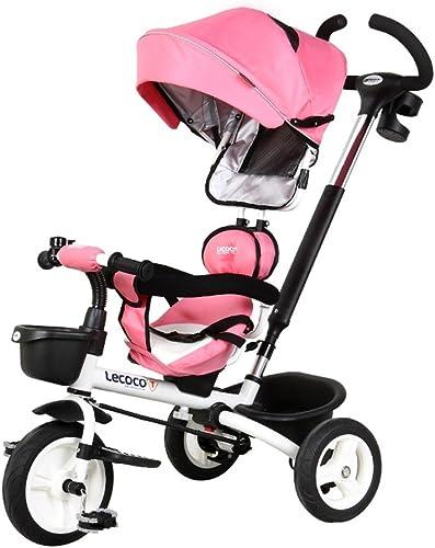 Tricycles Plier   Mute   rougeary Enfants Tricycle 1-5 Vélo Bébé Vélo Porte-Bébé Bébé Trolley Rose 25 kg Equitation en Plein air pour Enfants