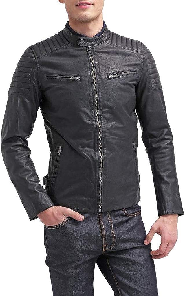 FabSkin Popular standard Men's Genuine Lambskin Sacramento Mall Leather Jacket Bla Outwear Casual