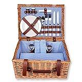 Schramm Cesta de picnic 40x30x20cm rectangular de madera de sauce para 2 personas