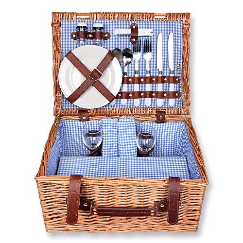 Schramm® picknickmand rechthoekig van wilgenhout voor 2 personen picknickkoffer picknickset picknickmand binnen blauw geruit