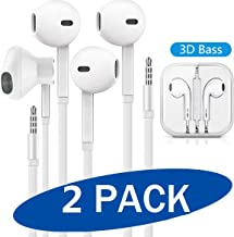 (2 Pack) Aux Headphones/Earbuds 3.5mm Wired Headphones Noise Isolating with Built-in Microphone & Volume Control Compatible with iPhone 6 SE 5S 4 iPod iPad Samsung/Android MP3