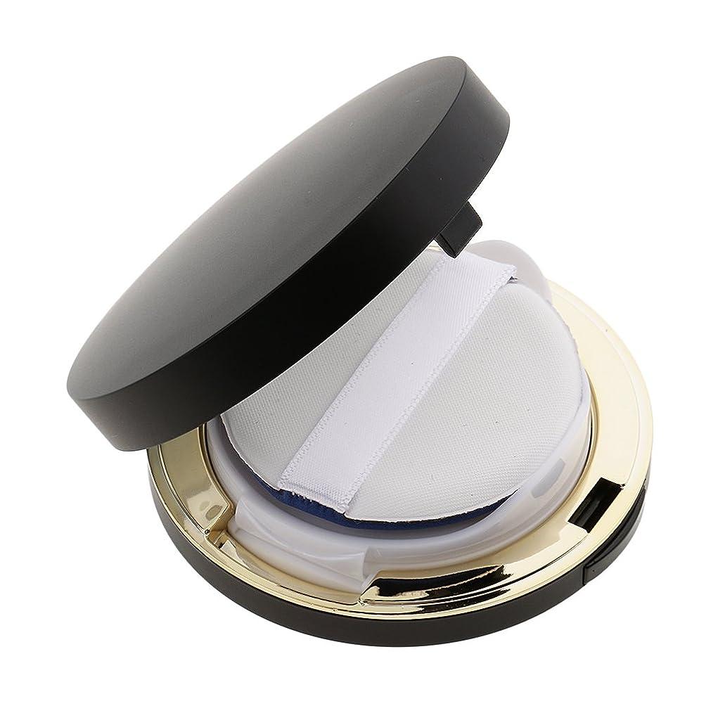 ラボファンネルウェブスパイダーパズルPerfk メイクアップ エアクッションケース パウダー パフ パフボックス ラウンド BBクリーム 詰替え 便利 3色選べる - ブラック