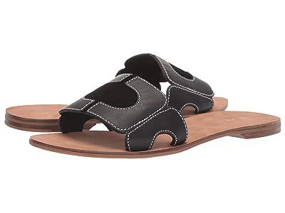 Diane von Furstenberg Link Slide (Black Leather) Women