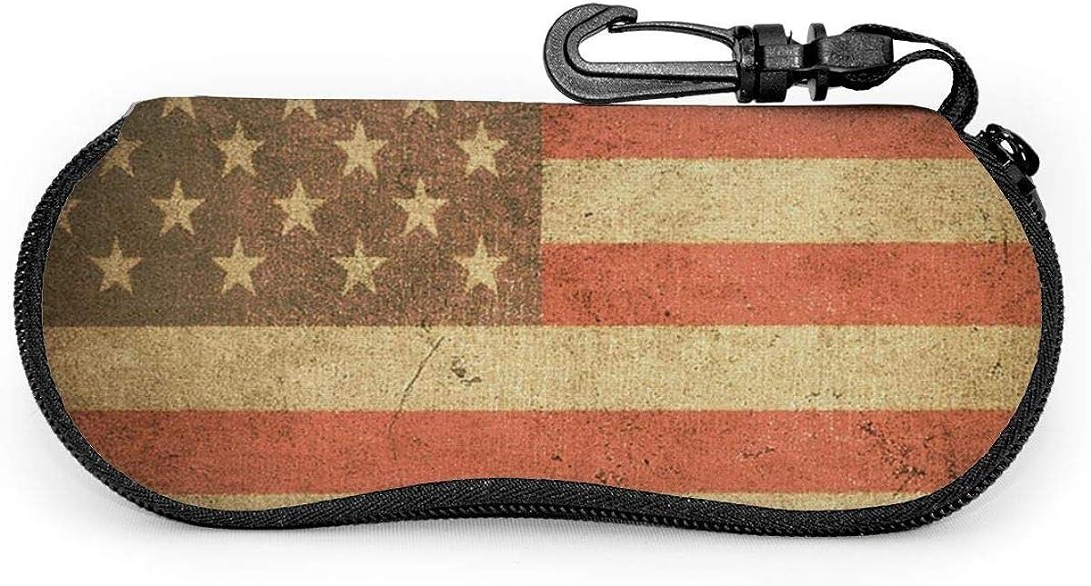Retro American Flag Glasses Case Unisex Eyeglasses Protective Case Zipper Eyeglass Box With Key Chain Universal Fits
