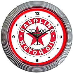 Neonetics Texaco Motor Oil Gasoline Neon Wall Clock, 15-Inch