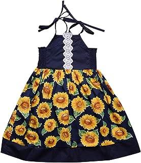 Toddler Baby Kids Girls Sleeveless Ribbons Lace Sunflowers Summer Princess Dress