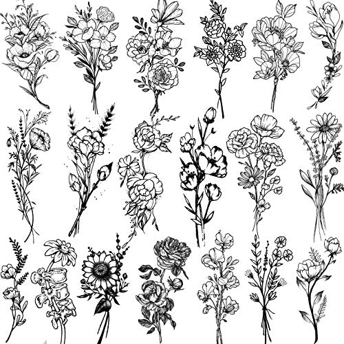 JOEHAPY 19 Sheets 3D Sexy Flower Temporary Tattoos For Women Neck Arm Girls Black Waterproof Small Fake Tattoo Stickers Tiny Branch Floral Poppy Sunflower Wild Plants Sketch Tatoo Sets Kits For Adults
