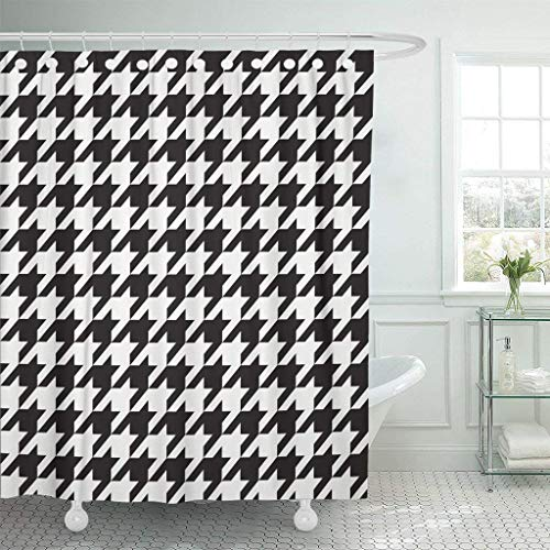 PAUSEBOLL Tooth Houndstooth Other Products Black and White Abstract Check Checker Checkered Chic Classic Classical Shower Curtain Bathroom with Hooks,Waterproof Polyester Curtain