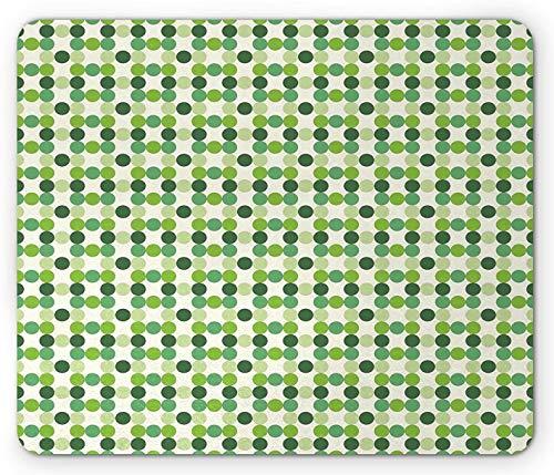 Grünes Mauspad, Kreise Mit Verschiedenen Farbtönen, Farbtöne Und Farbtöne Des Geometrischen Musters Im Grünen Retro-Stil, Rutschfestes Gummi-Mauspad, Grüne Creme