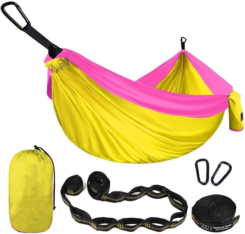 アウトドアスポーツアクセサリー 二重ハンモック - 軽量のパラシュートの携帯用ハンモックのヤードギヤはハイキング、旅行、バックパッキングのためのナイロン革紐及び鋼鉄カラビナを含んでいます、 (色 : 黄, サイズ : L)