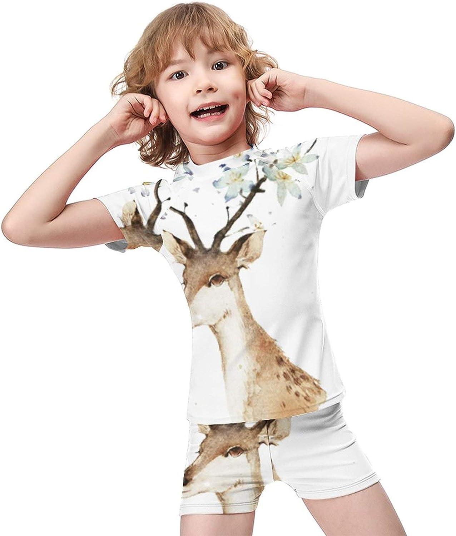 Yiaoflying Kids Boys 2 Piece Swim Set - Deer with FlowersRash Guard Swimsuit Trunks