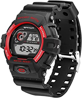 Songlin@yuan 5302 LED Backlit Display & Stopwatch & Alarm Clock & Calendar Features Men's Outdoor Sports Digital Watch & Silicon Belt Fashion (Color : Red)
