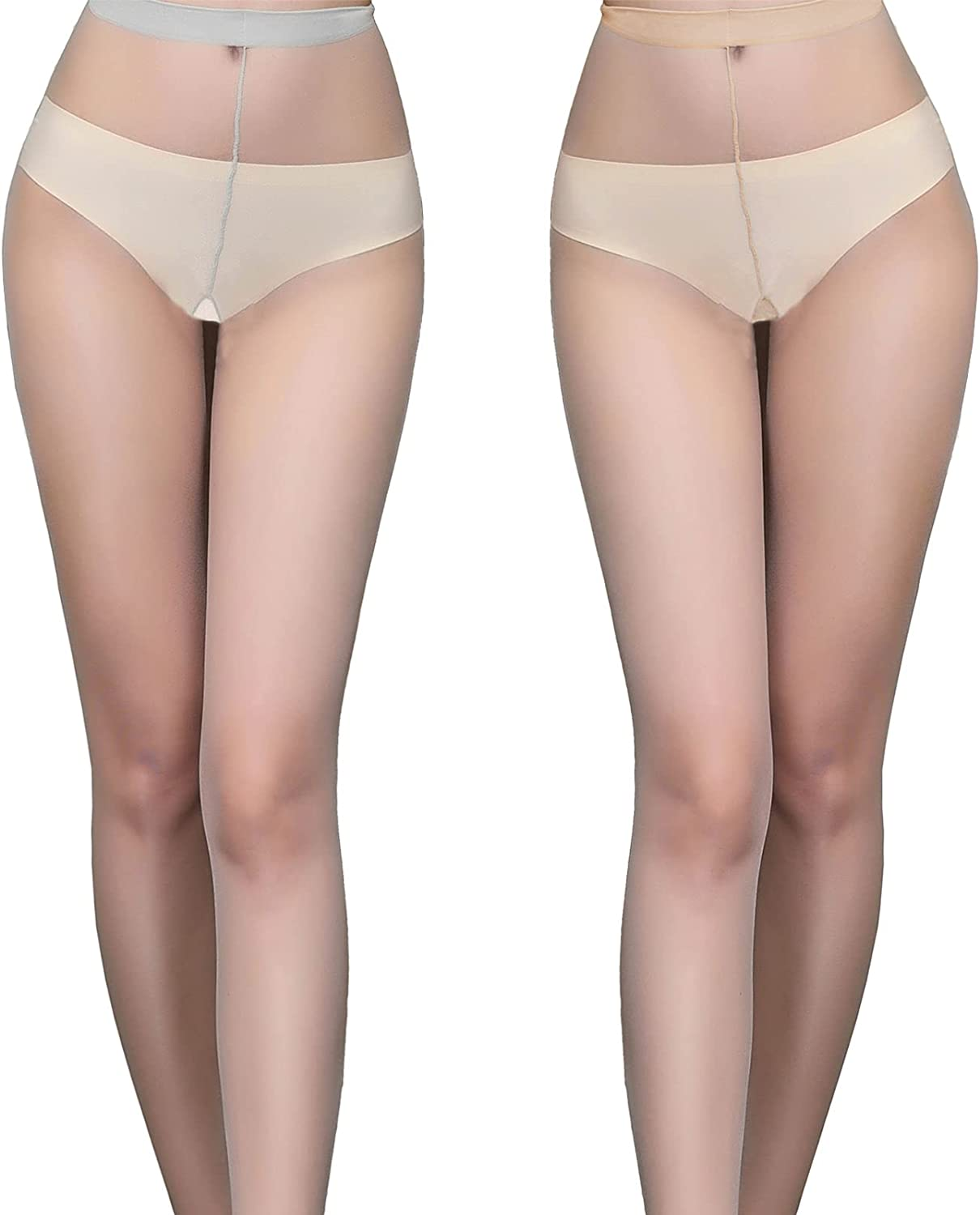 Womens High Waist Control Top Slimming Sexy Pantyhose Thigh High Stockings with Fake Garter Belt and Panty