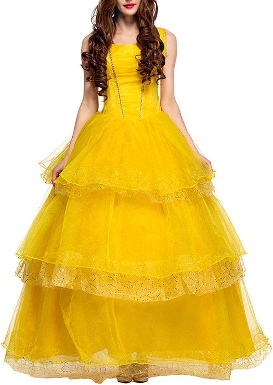 COMVIP Palace Royal Princess Retro Cosplay Maxi Prom Evening Dress Yellow