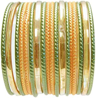 18 Individual Glass Bangles Size 2.10 ML: Mehndi Party Yellow Henna Green Sari Bracelets Bollywood Belly Dance Fashion Jewelry