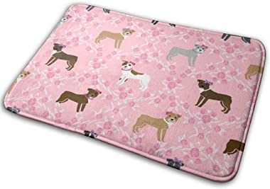 Pitbull Dog - Bows and Pearls, Roses and Florals - Pink_28610 Doormat Entrance Mat Floor Mat Rug Indoor/Outdoor/Front Door/Ba