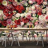 モダンな3Dバラの花の壁紙ロマンチックなリビングルームの結婚式の家の家の装飾の背景壁画3D壁壁画,350(W)*256(H)Cm
