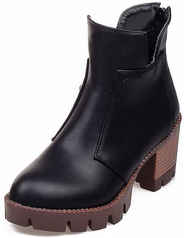 WeenFashion Women's Soft Material Zipper Round Closed Toe Kitten-Heels Low Top Boots