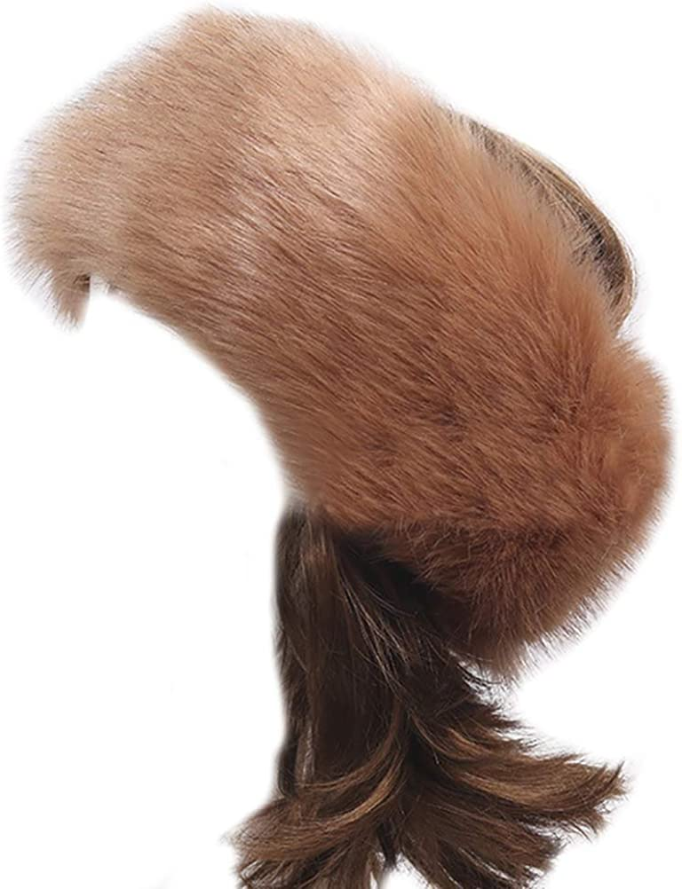 Faux Fur Headbands Women Cozy Stretch Hairbands Outdoor Ear Warmers Thick Soft Earmuffs Ski Hat Head Wraps