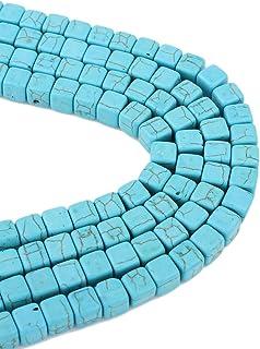 50 perline turchesi con pietre semipreziose da 8 mm, cubo blu, 1 filo, per collane, anelli, fai da te, turquoise Beads G248