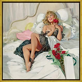 Berkin Arts Framed Joyce Ballantyne Giclee Canvas Print Paintings Poster Reproduction (Pin Up Girls 4)