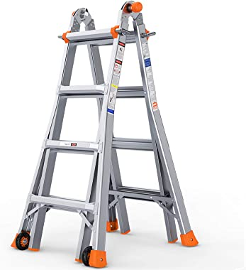 OT QOMOTOP 17 FT Multi Use Telescoping Ladder for Home, Easy to Move Rv Aluminum Extension Ladder with 2 Flexible Wheels, Non