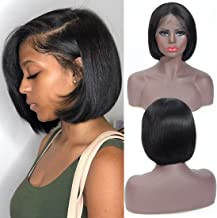 Short Bob Wigs 13x4 Human Hair Lace Front Wigs for Women Brazilian Virgin Hair Straight Bob Wigs (10 Inches)