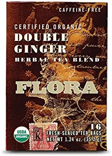 Organic Ginger Tea 16 Bags - Non GMO & Caffeine Free - Herbal Digestive Aid - Supports Healthy Digestion - by Flora