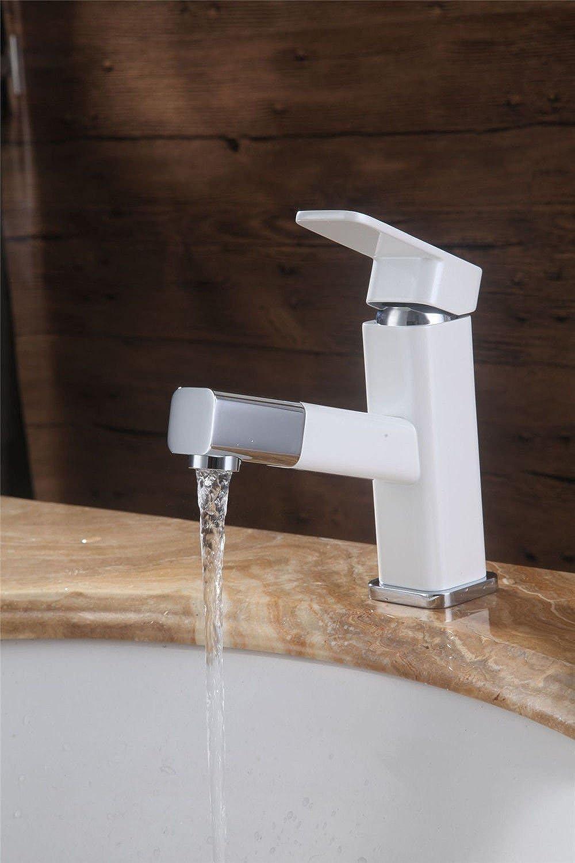 LaLF Europischer Wasserhahn Warm- und Kaltwasserbecken Wasserhahn Ausziehhahn Einhand-Waschbecken Wasserhahn Kupfer modernen Chrom-Wasserhahn