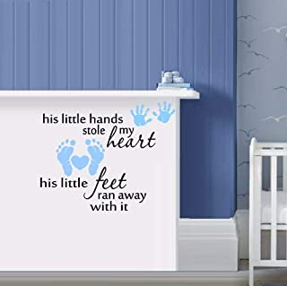 N.SunForest his or her Little Hands Stole My Heart Wall or Window DecalVinyl Stickers Decorative for Holiday Home Room