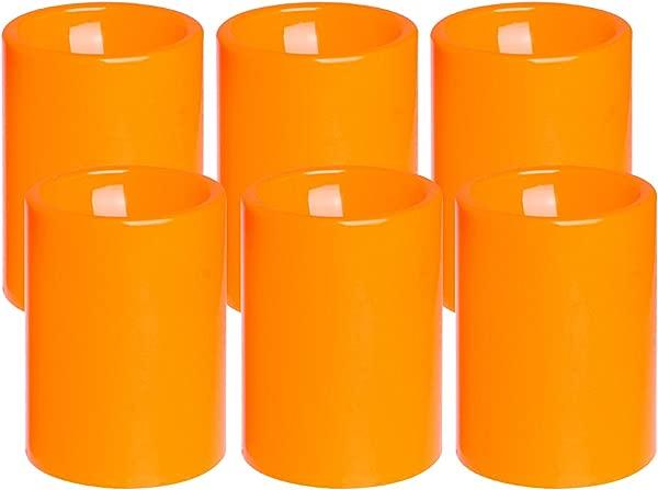 无火焰闪烁塑料 Led 蜡烛 6 个装电池供电南瓜颜色远程蜡烛带计时器秋季万圣节户外装饰品 3x4 英寸
