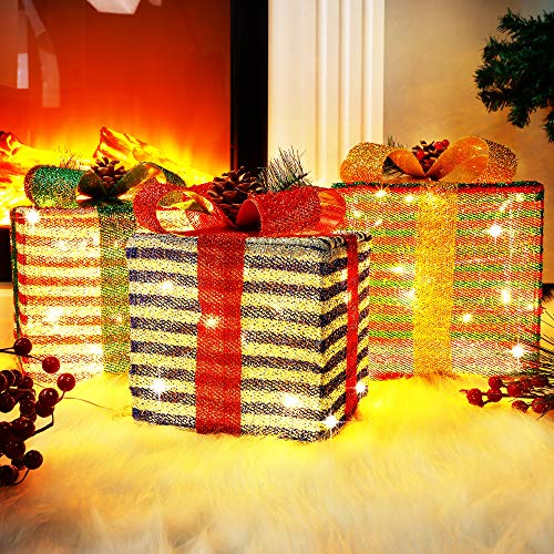 Lulu Home Christmas Lighted Boxes, 60 LED Light Up Collapsible Deocr Indoor Outdoor, Plug in Light Up Christmas Boxes Present Decorations Indoor Outdoor Yard