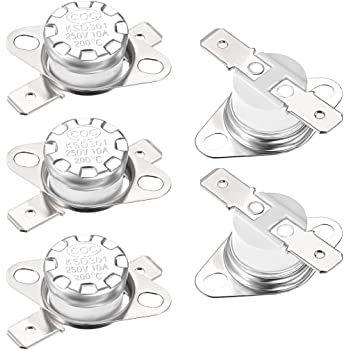 uxcell KSD301 Thermostat Adjust Snap Disc Limit Control Switch Microwave Thermostat Thermal Switch 160/°C 10A Normally Closed N.C 2pcs