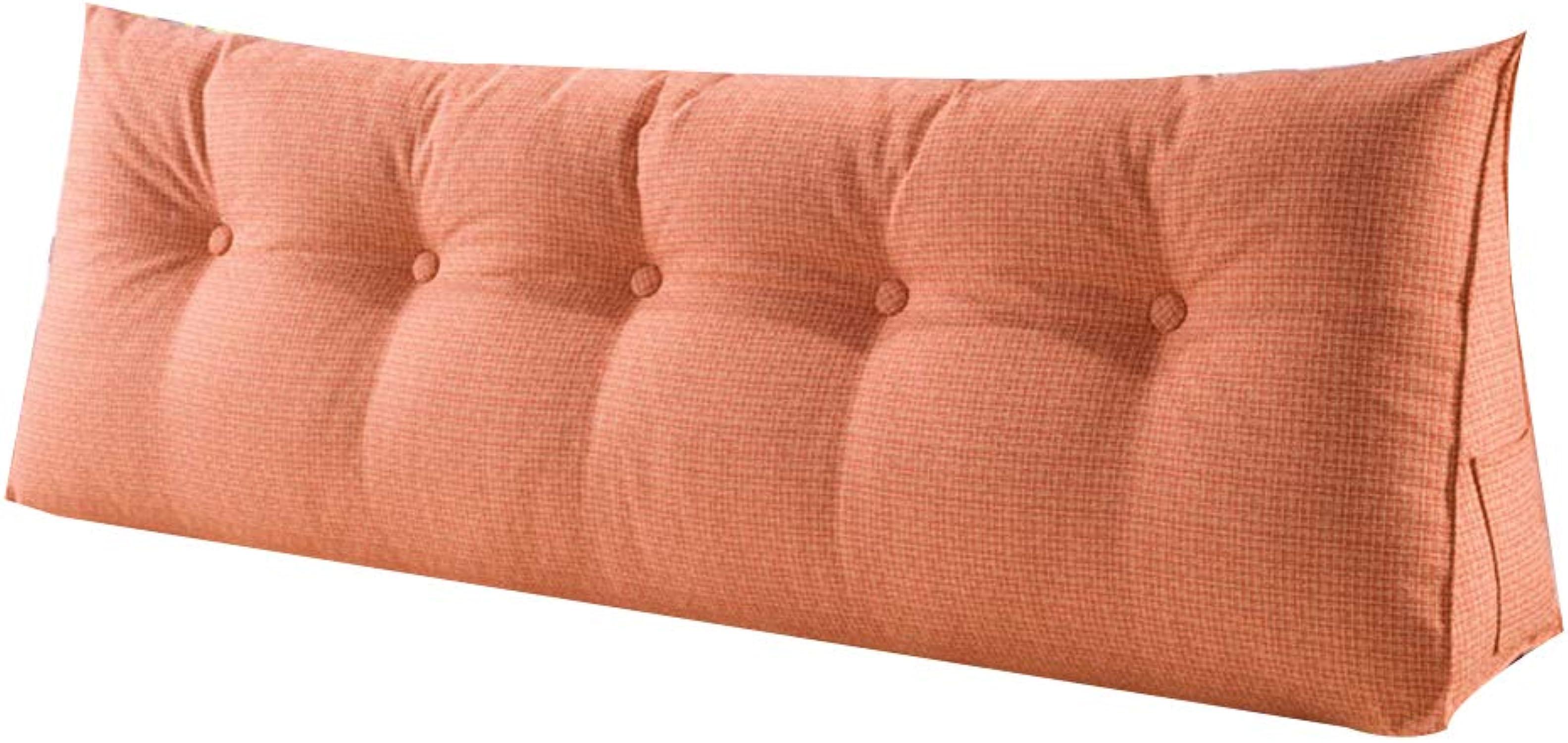 JYW-kaodian Tête De Lit Coussin Wedge PilFaible Housses De Coussins Oreiller Accueil Oreiller Lombaire Triangle Lavable, 6 Couleurs,Orange,120  20  50cm