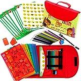 Schablonen Zeichnungs-Set für Kinder großes 54-teiliges amüsantes Reisetätigkeits-Set, Organizer...