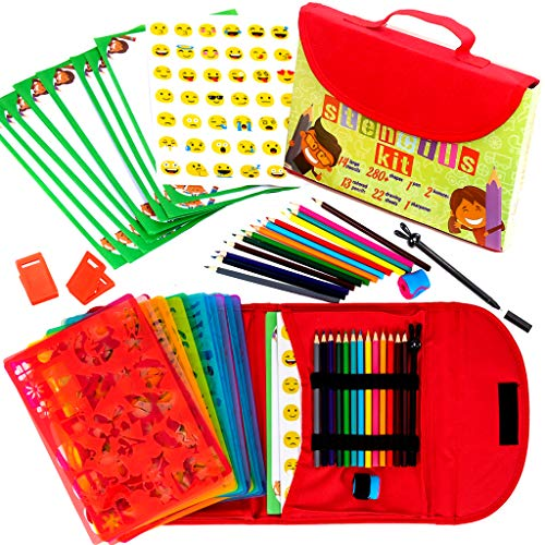 Drawing Stencils for Kids Kit & Carry Case - Child-Safe with 54 Pieces, Stencil Set with 280+ Shapes, Colored Pencils, Paper, Etc.- Travel Art Supplies for Creativity, Learning & Fun, Ideal Kids Gift