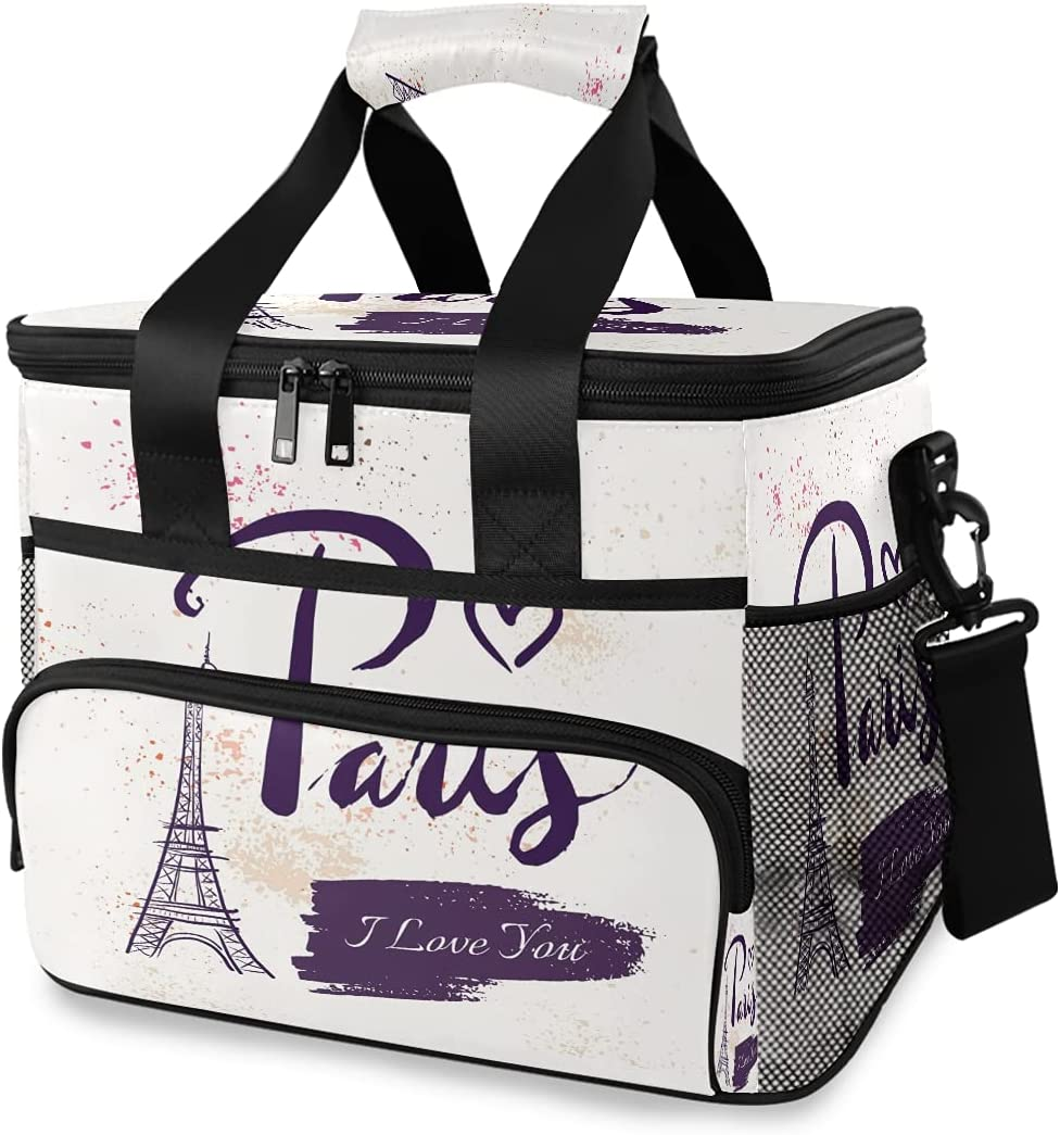 HMZXZ Large Cooler Lunch Bag Tower Paris Clearance SALE! Limited time! Heart Eiffel Watercolor New product