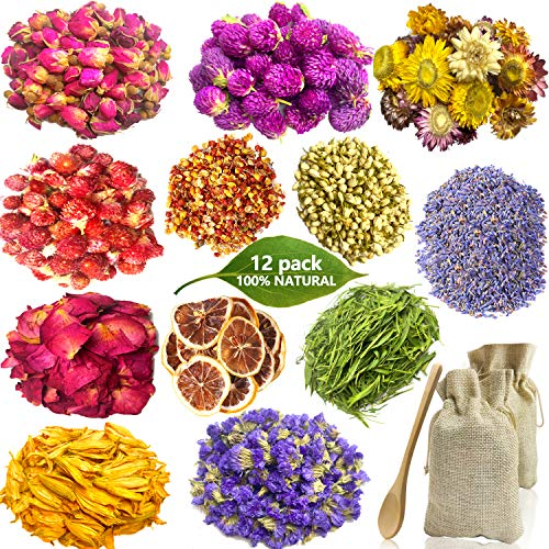 Dried Flowers for Soap Making, 12 Packs Natural Dried Flower Herbs Kit for Bath, Soap Candle Making with 2 Bags 1 Spoon - Include Rose Petals, Rosebuds, Lavender, Jasmin, Lily, Lemon Slice and More