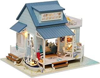 Rylai 3D Puzzles Miniature Dollhouse DIY Kit Light Caribbean Sea Series Dolls Houses Accessories with Furniture LED Music Box