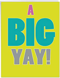 Big All Occasions Blank Appreciation Card 8.5 x 11 Inch - 'A Big Yay!' Greeting Card with Envelope - Extra Large Funny Card - Perfect Congratulations Gift, Sentiment, and Extra Large Wishes J1439K