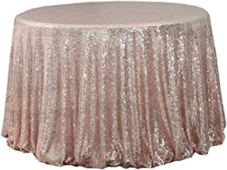TRLYC 72'' Round Rose Gold Sequin Tablecloth Wedding Cake Tablecloth