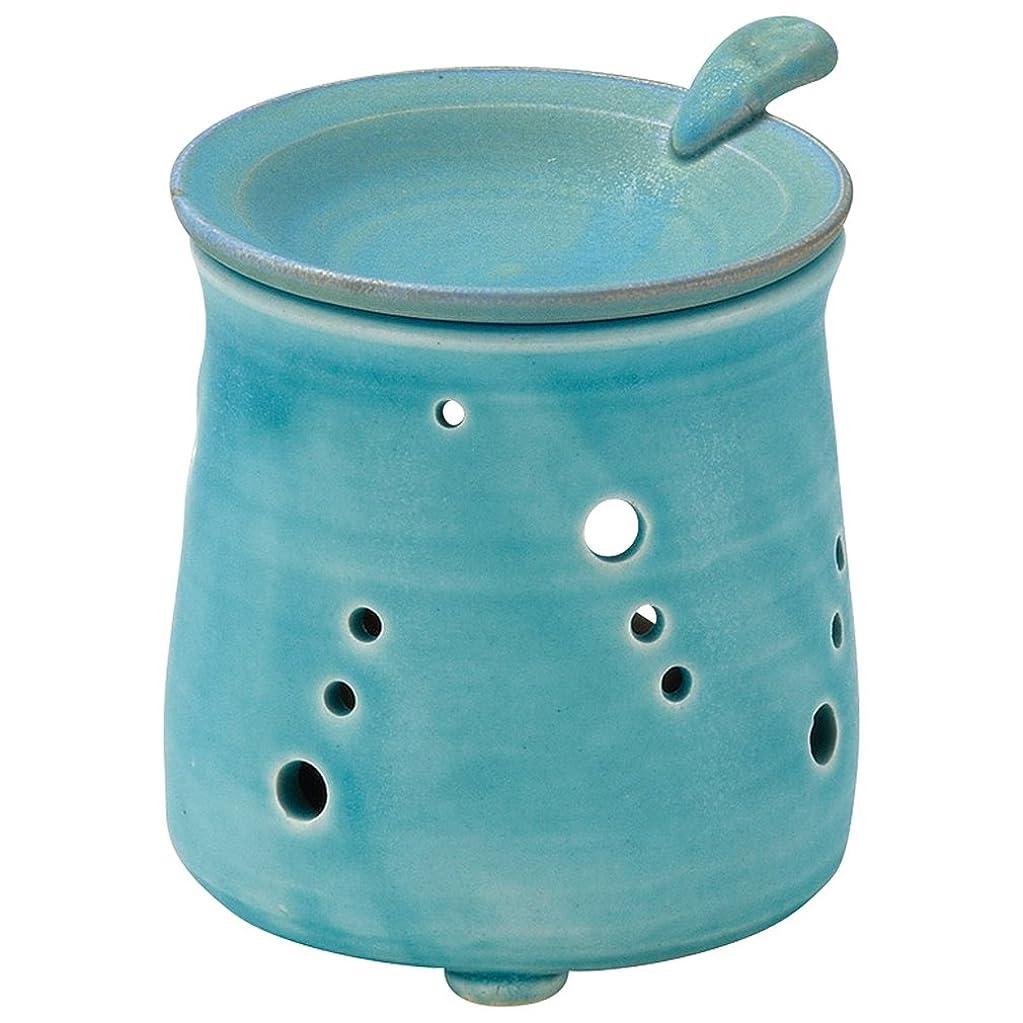 恥ずかしさ市長石の山下工芸 常滑焼 山田トルコブルー茶香炉 10×9.5×9.5cm 13045690